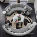 European customized round leather couch, couch living room sofa