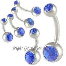 14G Saphir Nickel frei Bauchnabel Ringe