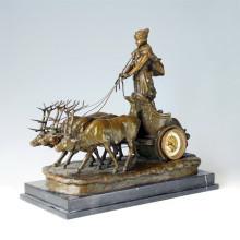 Clock Statue Deer Chariot Bell Bronze Sculpture Tpc-035