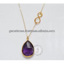 Дизайнер Аметист Драгоценный Камень Позолоченные Производителя Ожерелье Ювелирные Изделия Для Женщин