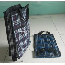 Fashion Japanese style foldable shopping bag with wheel