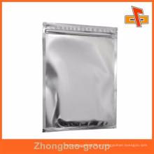 Folha de alumínio lustroso saco mylar flat com fecho de correr para alimentos, café em pó