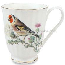 Pájaro de la flor de la naturaleza de la decal pintura a mano Una taza de cerámica fina de cerámica de hueso grado