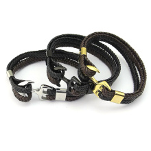 Customize Woven Leather Steel Anchor Hook Mens Bracelet