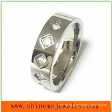 Joyería de moda de alta calidad CZ anillo de acero inoxidable (CZR2525)