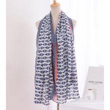 Senhora moda lenço de seda de linho de algodão impressa (yky1141)