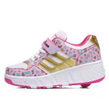 Nuevos zapatos con estilo del patín de rodillo de la manera, zapatos dobles del rodillo de la rueda para los cabritos Adultos con el botón retractable ocultado para el deporte