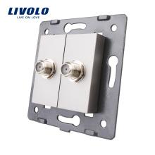 Accessoire pour prise de courant murale électrique Livolo La base de 2 prises satellites gris VL-C7-2ST-15