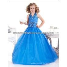 Longue perle V-neckline robe de bal de jupe blouse bleue fait sur mesure filles boucles d'oreille CWFaf4742