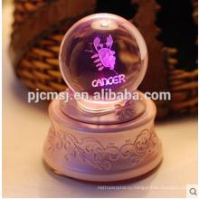 Кристалл Музыкальная шкатулка мяч с 3D лазерной гравировкой логотипа на сувениры подарок