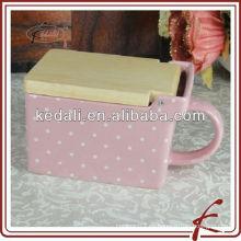 Cubo de reserva de cerámica rosa esmaltado