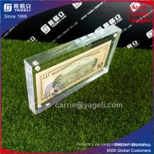 Verschiedene Currence Acryl Geld Frame