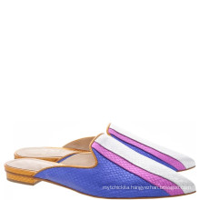 luxury flat shoes leather sole ladies purple spanish leather slippers