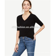 женский свитер с коротким рукавом V-образным вырезом кашемировый свитер
