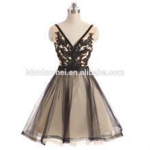 Black color deep v neck backless big size women dress evening dress 2017