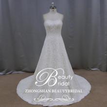 Vestido de noiva com contas de princesa cortadas em pérola novo design personalizado vestido de casamento divisória