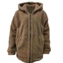 Autumn Winter New Arrival Khaki Color Warm Soft Handfeel Sherpa Jacket Custom Zip Up Hoodie Men