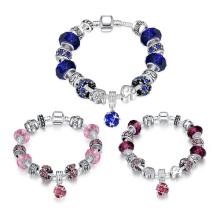 925 Prata europeia grânulos encantos moda pulseira para mulheres