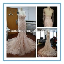 New Arrival Backless Tulle Bridal Gowns Court Train Mermaid 2015 Wedding Dresses(SHM-1001)