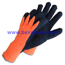 7 Gauge Acrylic Liner, Extra Thick Terry Knitted & Brushed, Latex Coating, Full Thumb Coating, Sandy Finish Safety Gloves