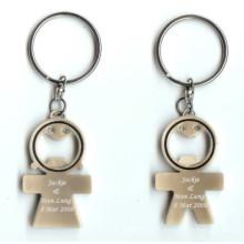 Porte-clés promotionnel en métal amant bouteille ouvre-porte