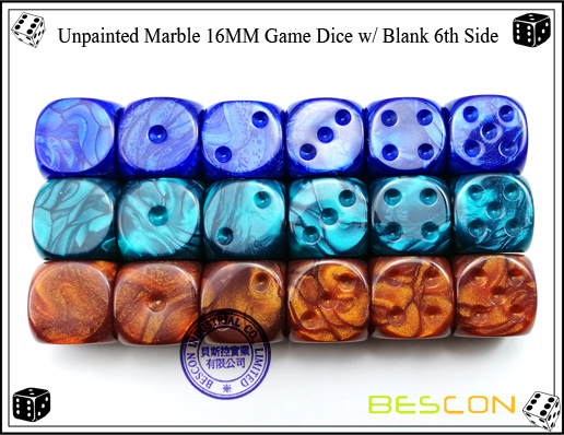 Un-painted Marble Dice 16MM with Blank 6th Side-5