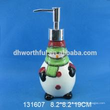 Cute snowman shaped ceramic christmas soap dispenser for custom
