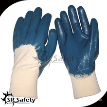 SRSAFETY Blue Nitrile Gloves Smooth Finish Blue Nitrile Glove 3/4 dipped