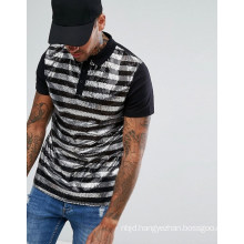 Men′s Polo Shirt in Sequin Stripe
