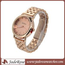 Дизайн Плакировкой Розовый Циферблат Леди Кварцевые Часы