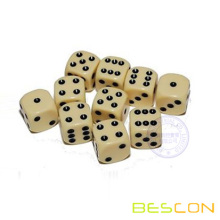 Round Corner Bone Color Six Sided Die 12MM with Black Dots