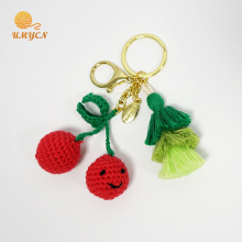 Crochet Cherry Key Chain Porte-clés avec gland