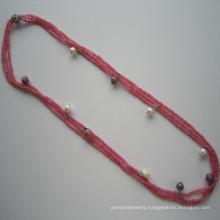 Dark Pink Tone Gemstone Triple-Row Charm Necklace