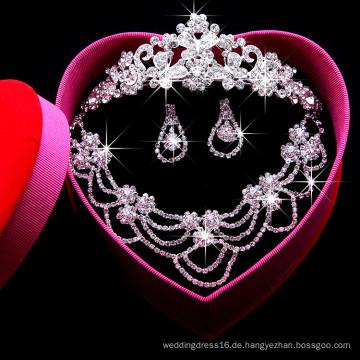 Kristallschmucksachen Sätze für Hochzeitsfest-Braut-Abnutzung (Halskette + Ohrring + Krone) F29101 Kristallhalsketten-Satz