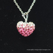 Wholesale Heart Shape New Arrival Gradient Color Lovely Pink and White Crystal Clay Shamballa With Silver Chains Necklace