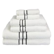 Ensemble de serviettes de luxe luxueux, 6 pièces, Collection Blanc Hotel, Blanc avec bordure noire, WUXI