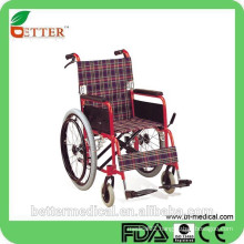 hight light red steel wheelchair with drop back function