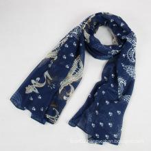 Fashion Autumn Long Polyester Voile Women Blue Scarf