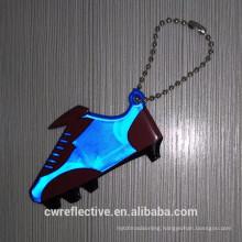 Cheap bulk plastic light blue shoe shape reflective keychain giveaways
