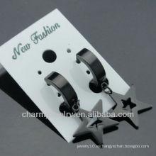 Pendientes de clip de joyería de moda Huggie acero quirúrgico negro pendientes HE-104