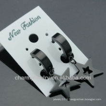 Fashion Jewelry clip Boucles d'oreilles Huggie Surgical steel Black Earrings HE-104