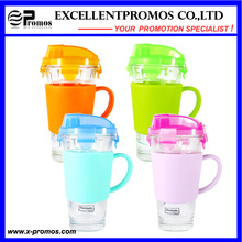 450ml Colorful Clear Glass Locked Drinking Cup with Handle (EP-LK57274H)