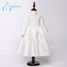 Tea Length Long Sleeve Lace Appliques Elegant Flower Girl Dresses