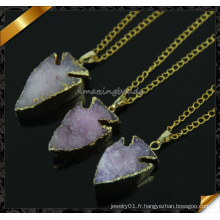 Direct Wholesale Druzy Agate Quartz Druzy Collier pendentif en pierre de haute qualité (CN014)