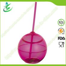 500 ml como forma de bola copa de acrílico con paja (TB-A5)