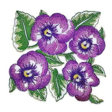Unique Garden's Best Delight Pansy geborduurde patch