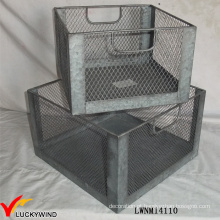 Set 2 Vintage Industrial Metal Wire Armazenamento Crate
