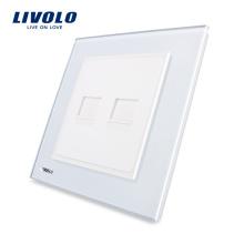 Livolo Panneau en verre de cristal blanc 2-Telephone Prise de courant murale rj11 Standard UK