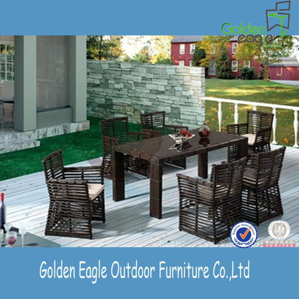 Rectangle wicker patio dining set