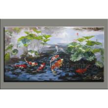 Pintura animal Handmade moderna da pintura dos peixes da pintura na lona (AN-066)